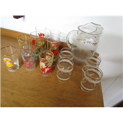 PITCHER AND 4 GLASSES (ART DECO) *AND MISC GLASSES*