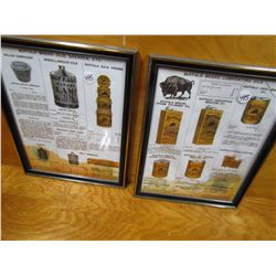 """LOT OF 2 DISPLAY ADS (BUFFALO OILS) *9.5"""" X 12""""* (NOT OLD, BUT NICE) *1 W/BROKE GLASS*"""