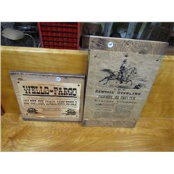 """LOT OF 2 WESTERN POSTERS (ON BARN BOARD) *NOT OLD* (12"""" X 12"""" & 12"""" X 18"""")"""