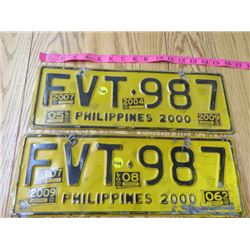 TWO PHILLIPINE LICENCE PLATES (2000)