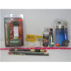 LOT OF 7 HUNTING & FISHING (RAPALA, BUCK BOMB, BUGLING BULL, CODE BLUE)