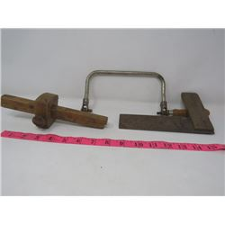 LOT OF 3 (WOOD MEASURE, SQUARE & SAW HANDLE)
