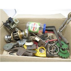 BOX OF DOOR KNOBS, PULLEYS, SPROCKETS, ETC