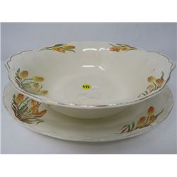 BOWL & PLATTER (GRINDLEY ENGLAND) *CREAM PETAL*