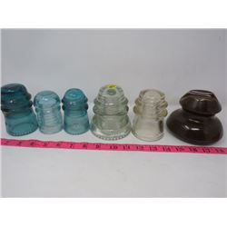 LOT OF 6 PORCELAIN INSULATORS (HEMINGRAY) *#16 2X CLEAR & NICE BLUE COLORS*