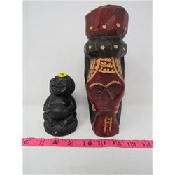LOT OF 2 FIGURES (SMALL BLACK BUDDA, JAMAICA WOOD FIGURE) *CRACKED*