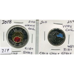 2018 CNDN ARMISTICE 2 DOLLAR PC & 2011 CNDN ORCA WHALE 25 CENT PC (BOTH VERY COLL.)