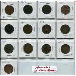 SHEET OF 13 1902-1919 CNDN LARGE 1 CENT PCS
