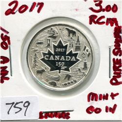2017 CNDN 3 DOLLAR PC (CANADA 150 YEARS, PURE SILVER)