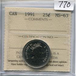 1991 CNDN 25 CENT PC (ICCS CERTIFIED)
