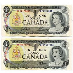 LOT OF 2 1973 CNDN 1 DOLLAR NOTES