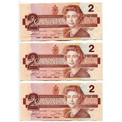 LOT OF 3 1986 CNDN 2 DOLLAR NOTES