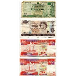 LOT OF 4 FOREIGN BANK NOTES (SCOTLAND, NEW ZEALAND, SINGAPORE)