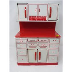 "TOY CUPBOARD (TIN; 4 DOORS; 11"" X 6"" X 15.5""; GENERAL METAL TOYS; MADE IN CANADA)"