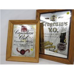 """LOT OF 2 FRAMED MIRRORS (CANADIAN CLUB, 11"""" X 13""""; SEAGRAM'S, 13"""" X 18"""")"""
