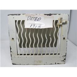 "HEAT VENT COVER (1913; METAL; 12"" X 11"")"