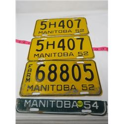 LOT OF 3 1954 MANITOBA LICENCE PLATES (2 MATCHING)
