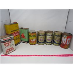 LOT OF 8 TINS - HAVOLINE, MOTORCRAFT, CO-OP & JOHNSON'S GLO-COAT *FULL*, ETC