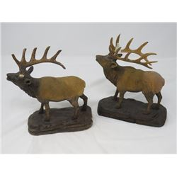 2 WOODEN HAND CARVED ELK (SIGNED G. REILLY)