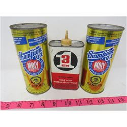 LOT OF 3 OIL CANS (2X CHAMPION QX *FULL* & 3 IN 1 CAN *EMPTY*)