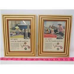 LOT OF 2 B/A VELVET GASOLINES PICTURES (WOODEN FRAME)