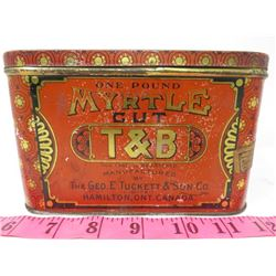 RECTANGLE TOBACCO TIN 'MYRTLE CUT' (ROCK CITY TOBACCO CO.)