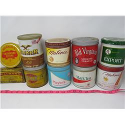 LOT OF 10 ASSORTED BRANDS TOBACCO TINS (MILLBANK,  PLAYER'S, WINNER, ETC)