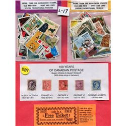 SHEET OF STAMPS (QTY 100) *100 YEARS OF CANADIAN POSTAGE*
