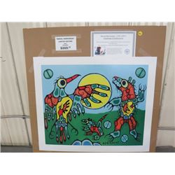 "LIMITED PRINT 'THUNDERBIRD FACES CAVE BEAR' (BY NORVAL MORRISSEAU) *555/950* (23"" X 18.5"")"