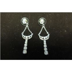 Silver filagree with swarovski crystal accent dangle earrings