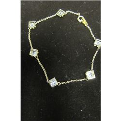 "Gold 8"" bracelet with floating swarovski crystal accents"