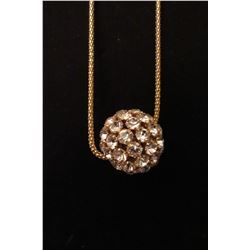 "Gold CZ ball on 28"" snake chain with 2"" extension"