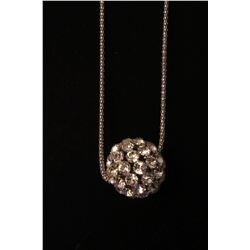 "Silver CZ ball on 28"" snake chain with 2"" extension"