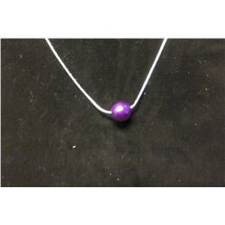 """Single purple satin bead pendant on a fine 17"""" silver necklace with 2"""" extension"""
