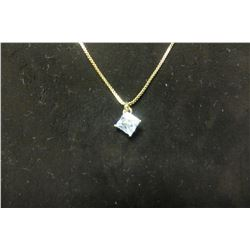 """Swarovski crystal solitaire pendant on 16"""" gold necklace with 2"""" extension"""