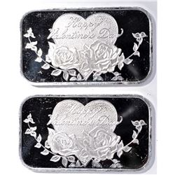 2-HAPPY VALENTINES 1 OUNCE SILVER BARS