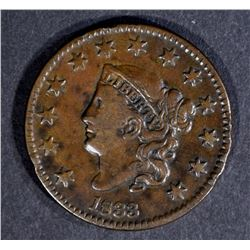 1833 LARGE CENT, VF/XF