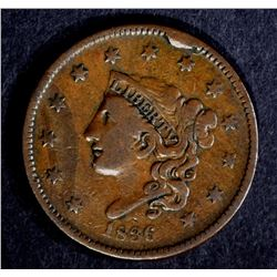 1836 LARGE CENT, VF large rim cud