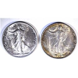 1 - 1945-S & 1-1945 WALKING LIBERTY HALF DOLLARS