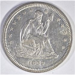 1859 SEATED LIBERTY QUARTER BU