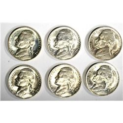 6-GEM BU 1942-P SILVER JEFFERSON NICKELS