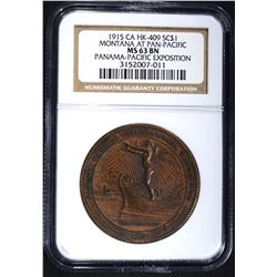 1915-CA HK-409 SO CALLED DOLLAR, NGC MS63 BN