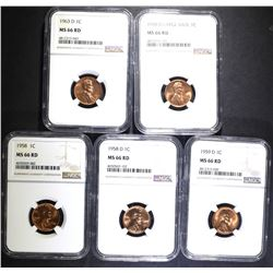5 LINCOLN CENTS NGC MS-66 RD