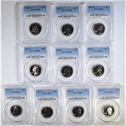 LOT OF 10-1971-S WASHINGTON QUARTERS, PCGS PR-68