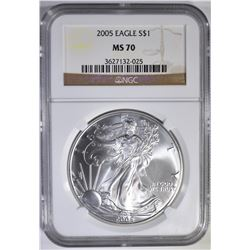 2005 AMERICAN SILVER EAGLE  NGC MS-70