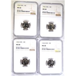 2 - 1965 SMS,  2 - 1966 SMS DIMES NGC