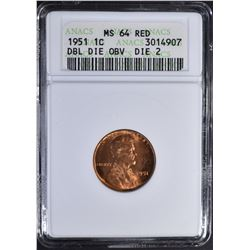 1951 DOUBLE DIE LINCOLN CENT ANACS MS-64 RD