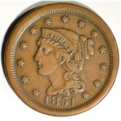 1851 LARGE CENT, XF REV TOOLED