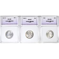 3 PIECE QUARTERS ALL APCG GEM BU 1941 D,