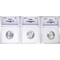 3 PIECE QUARTERS ALL APCG GEM BU 1944 S ,